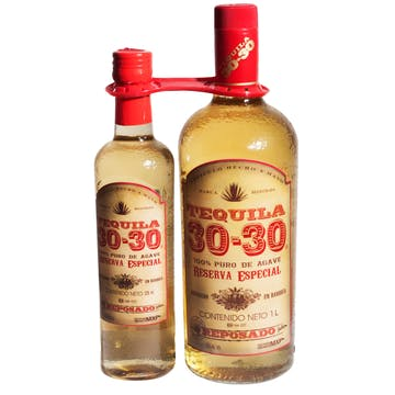 Tequila 30-30 Reposado 1000 ml y botella de 375ml