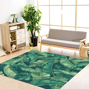 ALFOMBRA VINILICA / Green leaves 148X148