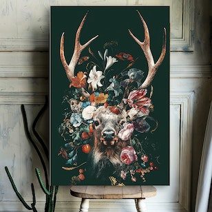 Cuadro Canvas / Floral animal - Deer (50x70)