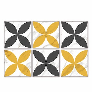 Set 24 Baldosas autoadhesivas /  Retro Marble Grey-Yellow  / 10x10 cm