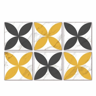Set 12 Baldosas autoadhesivas /  Retro Marble Grey-Yellow / 33x33 cm