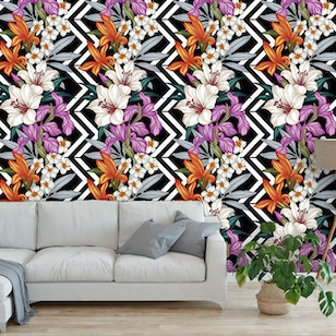 Papel Mural  / Flower Zigzag Vertical