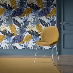 Papel Mural / Gold Blue Leaves / Categoria I