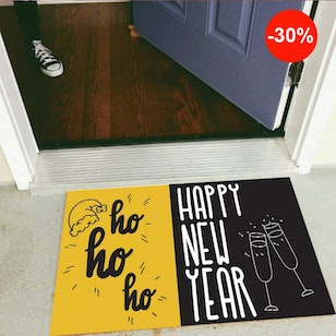 Tapete Decorativo Para Puerta - HO HO Happy New Year
