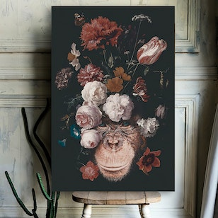 Cuadro Canvas / Floral animal - Gorilla (50x70)