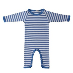 Long sleeve striped playsuit blue
